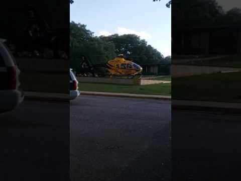 medical helicopter taking off from Seton Edgar B Davis hospital