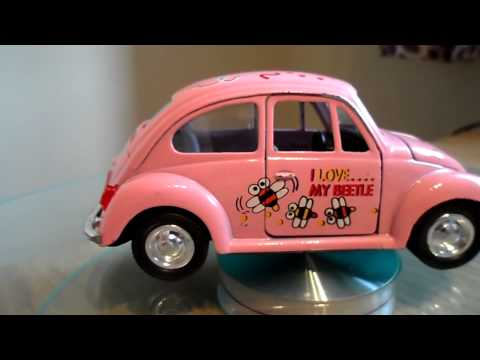 PINK TOY CAR VW VOLKSWAGEN BEETLE I LOVE MY BEETLE BEE FRICTION POWERED