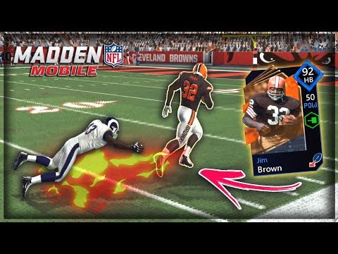 YOU CAN'T CATCH HIM NFL 100 JIM BROWN GAMEPLAY MAN IS A MONSTER!! MADDEN MOBILE 20 GAMEPLAY!!