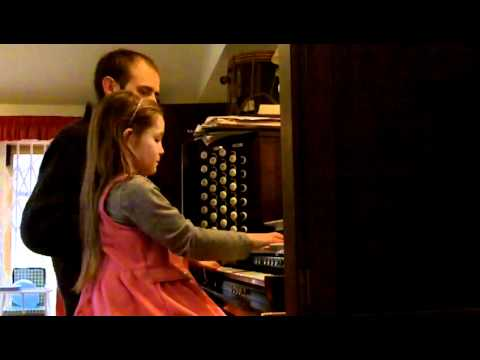 Alma Deutscher (7) and Tobias Cramm improvising together on the organ, February 2012