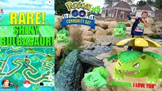 RARE SHINY BULBASAUR HUNTING IN THE PARK! CAUGHT TONS OF NEW SHINIES! Pokemon Go Community Day Event