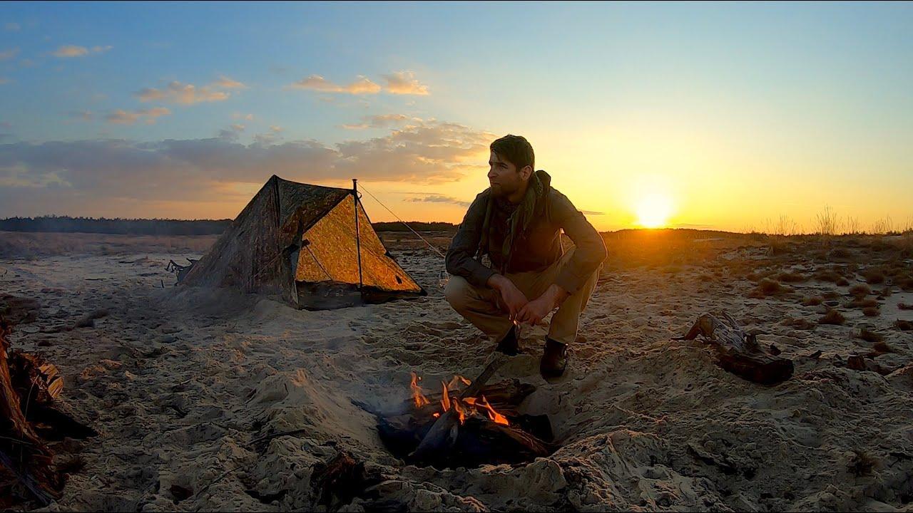 Biwak na Pustyni | Shisha i szakszuka z ognia | zachód słońca i noc pod tarpem | Outdoor & Bushcraft