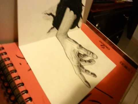 Dibujo a l piz 3d mano saliendo de youtube - Dibujos para paredes ...
