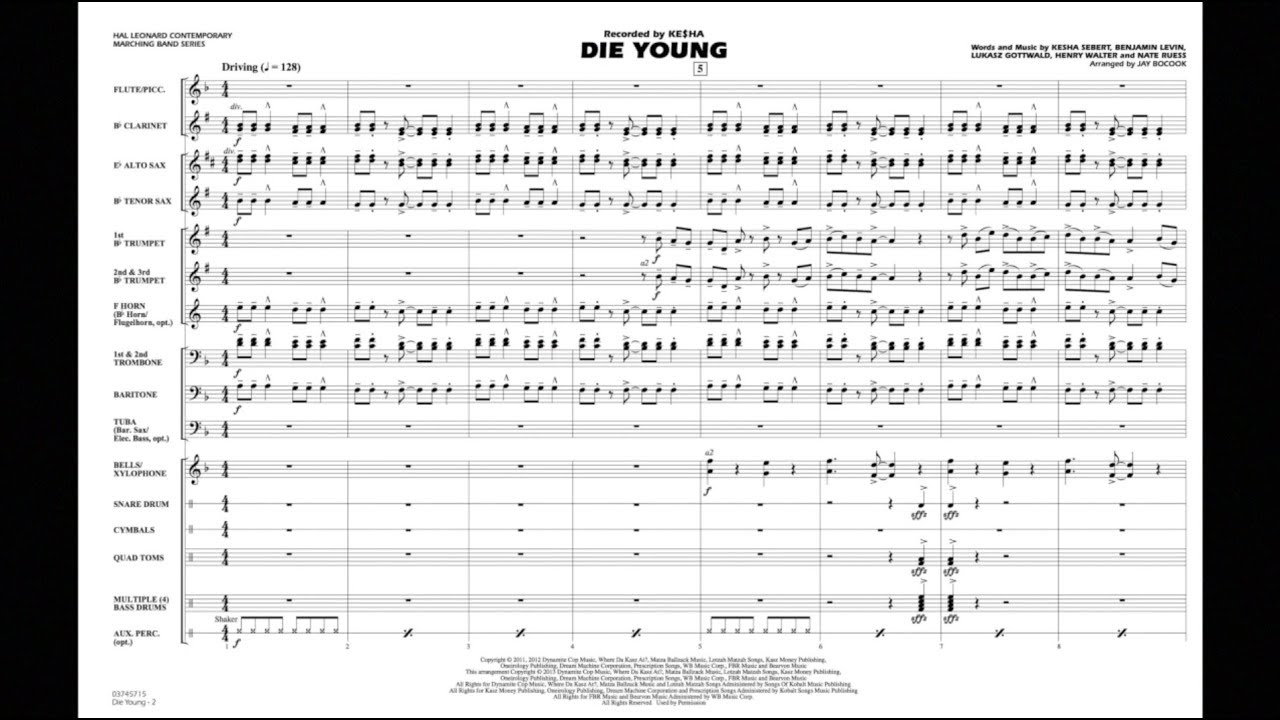 Die Young arranged by Jay Bocook