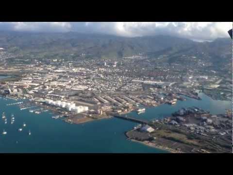 départ et survol d'Honolulu