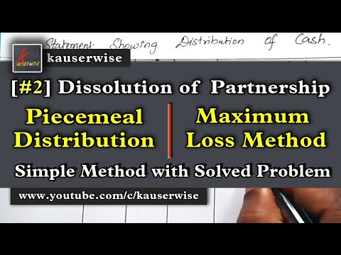 Dissolution of Partnership firm Piecemeal Distribution Maximum Loss Method - Partnership accounting