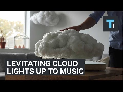 Floating cloud hides a sound and lighting system