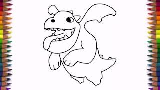 How to draw Baby Dragon from Clash of Clans characters COC drawing step by step