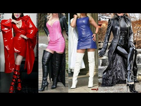 latest prettiest and eye catching latex leather long power dresses for women and girls