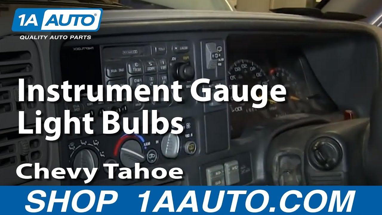 how to service replace instrument gauge light bulbs 1996 99 chevy tahoe k1500 pickup youtube 1995 Chevy K1500 Wiring-Diagram 1998 K1500 Headlight Wiring