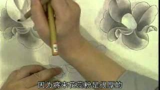 Camellia in Gongbi fine line style Chinese painting with Prof Zhang Dequan(2/3)