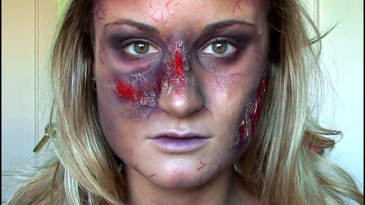 Tutorial maquillaje halloween zombie sangriento heridas - Como maquillarse de zombie ...