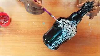 Bottle art / bottle craft /Antique Bottle / bottle painting with air dry clay and fabric paint
