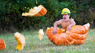 Rolled Him Down A Hill In A Giant Halloween Pumpkin!  Ross Smith