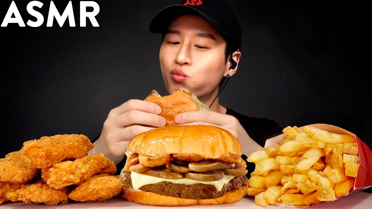 Asmr Chicken Tenders Mushroom Asiago Burger Mukbang No Talking Eating Sounds Zach Choi Asmr