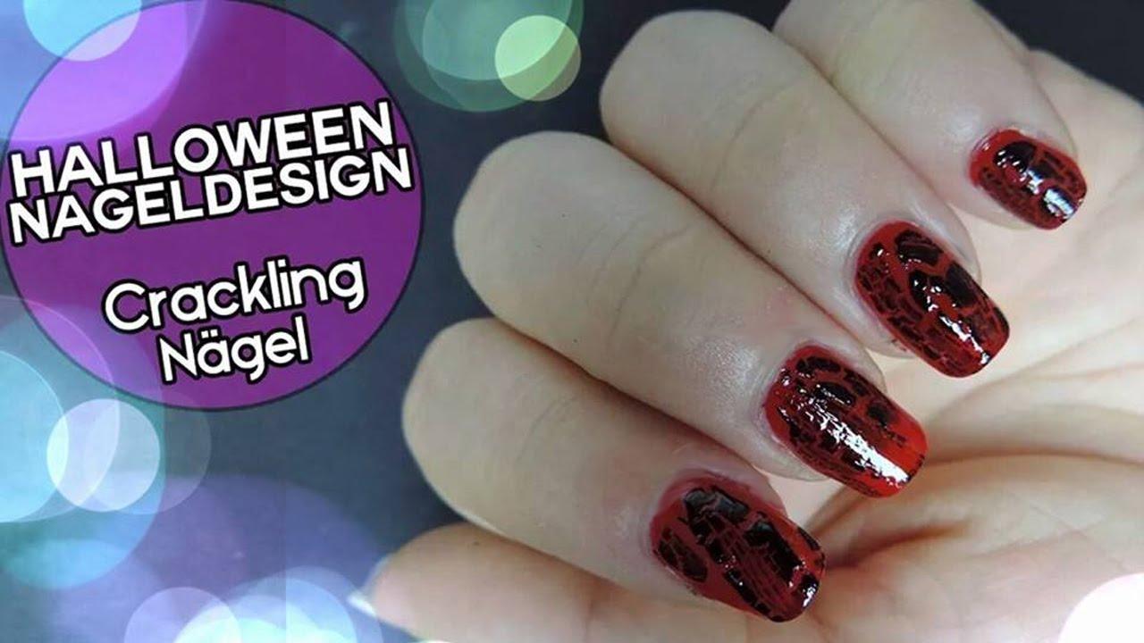 Halloween Nageldesign Crackling Style   Einfaches Nageldesign für ...
