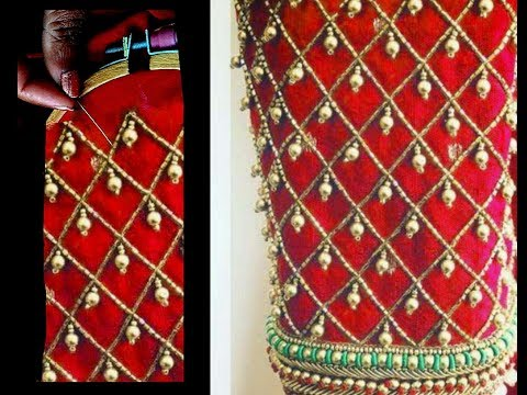 Most Beautiful  Heavy Sleeves Design With Normal Stitching Needle-Same Like AARI/ Maggam Work Blouse