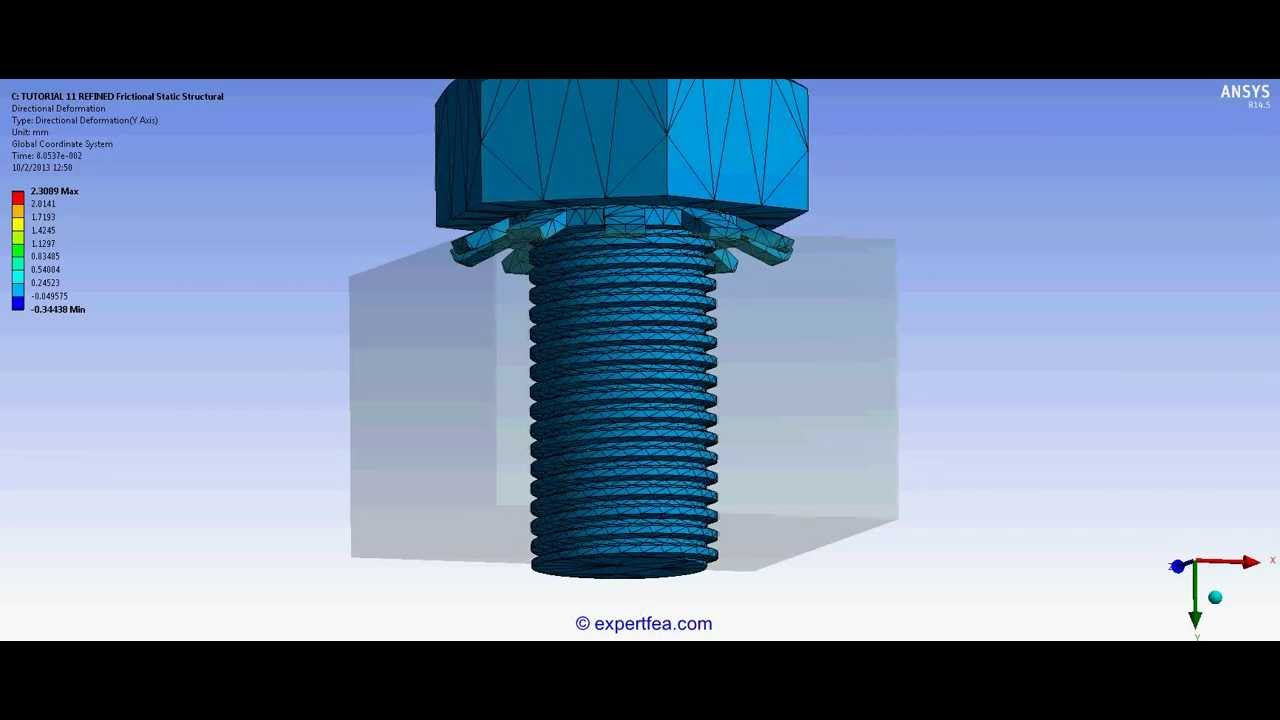 Tutorial 11 Static Structural Fea Of A Threaded Bolt