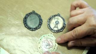 Scrapbook Jewelry in Cameo Mounts, with Flowers, Buttons, Images, Charms by B'sue
