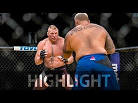 UFC 200 Brock Lesnar destroys Mark Hunt...