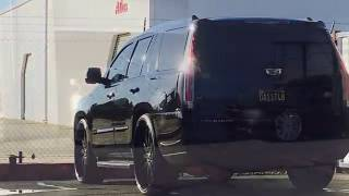 Highway Smashing - Blacked Out 2015  Escalade Lowered on Forgiato 3 Piece 28's + Big Wilwood Brakes