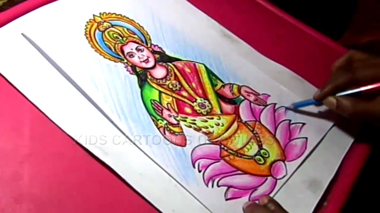 How To Make Hindu Goddess Varalakshmi Ammavari Decoration Step By Step Drawing Youtube