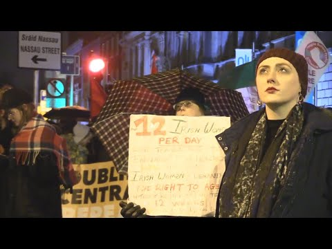 VIDEO: Repeal 8th protesters brave the rain and cold outside Leinster House