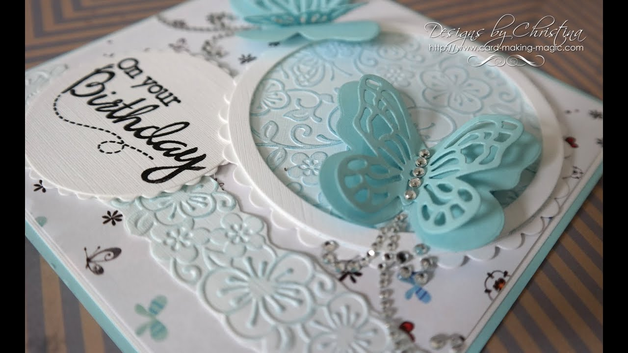 Papercraft Floral Flutter Embossing Folder & Stamp  Card  1