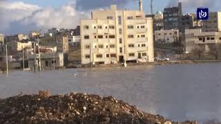الأمطار الغزيرة تشكل بركة مياه تهدد المواطنين في عبين (24/1/2020)