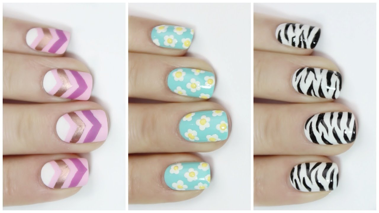 EASY nail art for short nails - YouTube