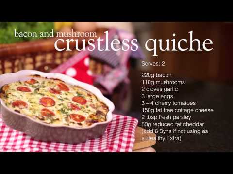 Slimming World Syn Free bacon & mushroom crustless quiche recipe