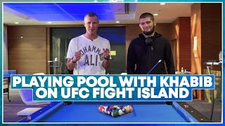 Playing pool with Khabib Nurmagomedov on UFC Fight Island, talks about GSP, Conor, Gaethje, father