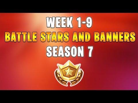 Fortnite Season 7 - ALL SECRET BATTLE STARS Week 1 - 9