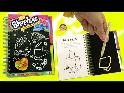 Shopkins Season 1 Sketch Surprise Scratch Drawing Art Book Scratching Polly Nail Polish