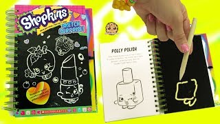 Shopkins Season 1 Sketch Surprise Scratch Drawing Art Book Scratching Polly Nail Polish