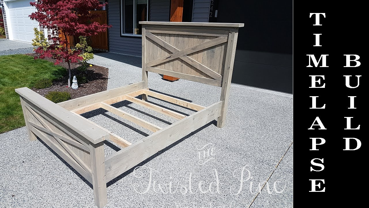 Custom Made Farmhouse Bed Build Timelapse Quick Version