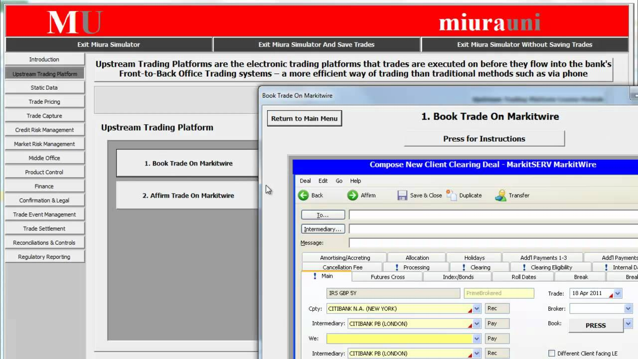 Miura 39 s front to back office trading simulator otc derivatives youtube - Derivatives middle office ...