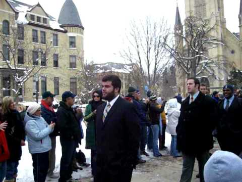 Notre Dame Football Team Walk to Stadium