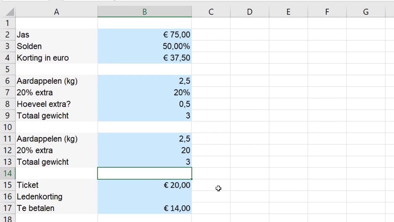 Percentages berekenen in Excel