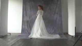 Видеолукбук: пышное корсетное свадебное платье с кружевным лифом со шлейфом