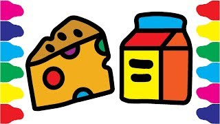 Coloring Fast Food Learn the Colors | How to Draw Kit of Fast Food | Coloring Cheese, Butter Pack