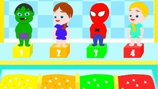 SUPERHERO BABIES AT THE SWIMMING POOL ❤ Spiderman, Hulk & Frozen Play Doh Cartoons For Kids
