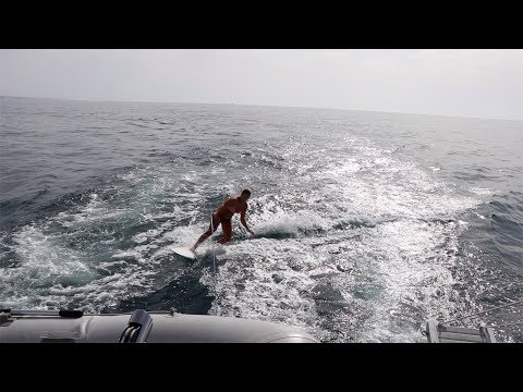 Surfing behind our Catamaran - Ep 11...