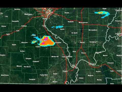 Farmington, Missouri Hail Storm Track via GRearth
