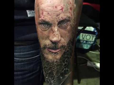 Amazing Realist Portrait Tattoo Ragnar Vikings Youtube