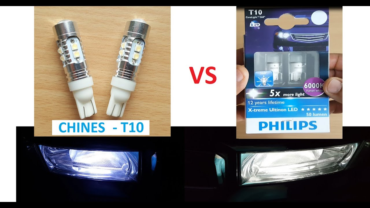chines t10 led vs philips t10 led parking lights youtube. Black Bedroom Furniture Sets. Home Design Ideas