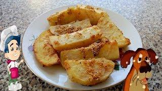 Картошка по деревенски в духовке с чесноком в пост