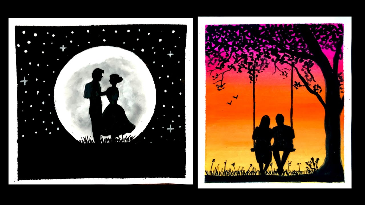 4 Easy Romantic Couple Painting Ideas For Beginners Poster Colour Paintings Easy Painting Ideas Youtube