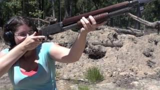 Mae fires the WWI Remington Model 10 Trenchgun