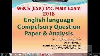 W.B.C.S. Main Examination 2018 Compulsory English Question Paper Analysis And Discussion